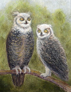 Owls Mixed Media - Two Owls in Conversation by Maureen Ida Farley