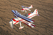 Old Objects Prints - Two Pitts Model 12 Aircraft In Flight Print by Scott Germain