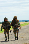 Ghillie Suits Prints - Two Snipers Of The Belgian Army Dressed Print by Luc De Jaeger