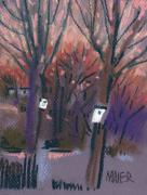 Pastel Pastels Originals - Two White Birdhouses by Donald Maier