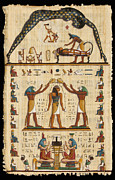 Hieroglyphics Paintings - Twokupamun Papyrus by Richard Deurer