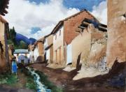 Peru Paintings - Typical Street by Oscar Cuadros