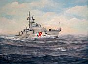Law Mixed Media Posters - U. S. Coast Guard Cutter Monsoon Poster by William H RaVell III