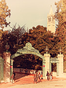 Postcards Photo Metal Prints - UC Berkeley . Sproul Plaza . Sather Gate and Sather Tower Campanile . 7D10027 Metal Print by Wingsdomain Art and Photography