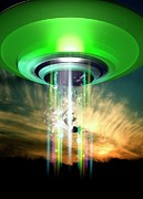 Problems Digital Art Metal Prints - Ufo Cattle Abduction, Conceptual Artwork Metal Print by Victor Habbick Visions