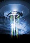 Problems Digital Art Metal Prints - Ufo Human Abduction, Conceptual Artwork Metal Print by Victor Habbick Visions