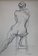 Seated Nude Drawing Prints - Ulrike and stool Print by Gill Kaye