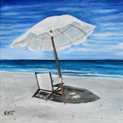 Sandy Beach Prints - Under the Umbrella Print by Elizabeth Robinette Tyndall