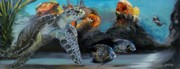 Sea Turtles Paintings - Underwater Beauty by Donna Tuten