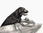 Black Lab Metal Prints - Untitled Metal Print by Kathleen Kelly Thompson