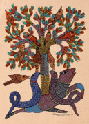 Gond Pardhan Paintings - Untitled by Koushal Prasad Tekam