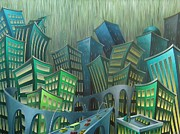 Illustrative Painting Framed Prints - Urban Jungle Framed Print by Eva Folks