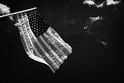 Flagpole Photos - Us American Flag On Flagpole Against Blue Cloudy Sky Usa by Joe Fox