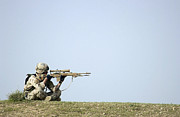 Rifle Sight Prints - Us Army Specialist Scans The Horizon Print by Stocktrek Images