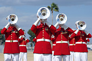 Dress Uniform Posters - U.s. Marine Corps Drum And Bugle Corps Poster by Stocktrek Images