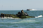Up-armored Posters - U.s. Marines Drive An Amphibious Poster by Stocktrek Images