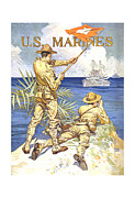 Ww1 Mixed Media Prints - US Marines Print by War Is Hell Store