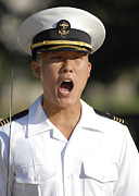 Yelling Prints - U.s. Naval Academy Midshipmen Print by Stocktrek Images
