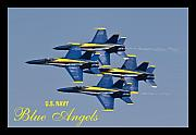 Blue Angels Framed Prints - US Navy Blue Angels Poster Framed Print by Dustin K Ryan