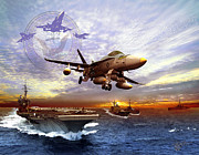Carrier Mixed Media Posters - U.S. Navy Poster by Kurt Miller