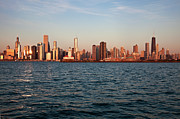 Business-travel Framed Prints - Usa, Illinois, Chicago, City Skyline Over Lake Michigan Framed Print by Henryk Sadura
