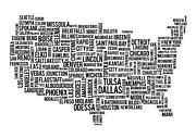 Dallas Digital Art Originals - USA Main Cities Map by Cedric Darrigrand