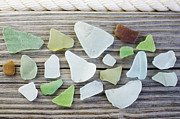 York Beach Metal Prints - Usa, New York State, New York City, Brooklyn, Collection Of Sea Glass Metal Print by Jamie Grill