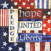 White Painting Metal Prints - USA Pride 1 Metal Print by Debbie DeWitt