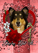 Collies Digital Art Posters - Valentines - Key to My Heart Collie Poster by Renae Frankz