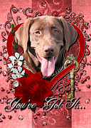 Labradors Digital Art Framed Prints - Valentines - Key to My Heart Labrador Framed Print by Renae Frankz