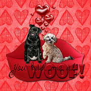 Pug Digital Art Acrylic Prints - Valentines - Sweetest Day - You Had Me at Woof Acrylic Print by Renae Frankz