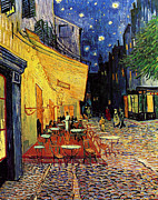 Cafe Terrace Painting Posters - Van Gogh Cafe Terrace Place du Forum at Night Poster by Vincent Van Gogh