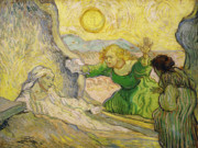 St Lazarus Painting Metal Prints - Van Gogh Raising of Lazarus after Rembrandt Metal Print by Vincent van Gogh