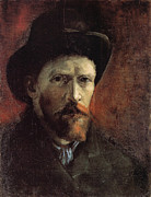 Education Paintings - Van Gogh Self Portrait Dark Felt Hat by Vincent Van Gogh