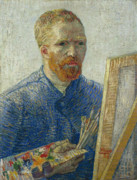 Fathers Paintings - Van Gogh Self Portrait in Front of Easel by Vincent van Gogh