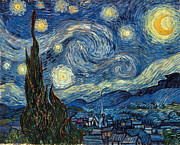 1889 Posters - Van Gogh Starry Night Poster by Granger