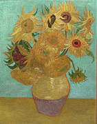 Vincent Van Gogh Posters - Van Gogh Vase with Twelve Sunflowers Poster by Vincent Van Gogh