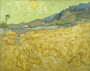 Spiritual Teacher Paintings - Van Gogh Wheat Fields Reaper Sunrise by Vincent Van Gogh