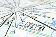 Coordinate Framed Prints - Vancouver aeronautical map. Framed Print by Fernando Barozza