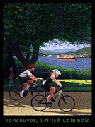 Burrard Inlet Digital Art Framed Prints - Vancouver Bike Ride Poster Framed Print by Neil Woodward