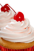 Maraschino Prints - Vanilla cupcake with maraschino frosting and cherry Print by David Smith