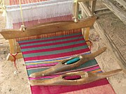 Art Product Photo Prints - Various Threads On Weaving Loom Print by Bjorn Svensson