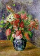 Vase Table Framed Prints - Vase of Flowers Framed Print by Pierre Auguste Renoir