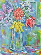 Expressionsim Paintings - Vase with Flowers by Chaline Ouellet