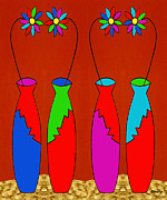 Vases Mixed Media Posters - Vases Poster by Patrick J Murphy