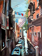 Old Buildings Mixed Media Prints - Venetian Channel 2 Print by Filip Mihail