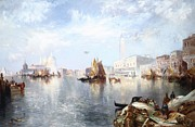 River View Metal Prints - Venetian Grand Canal Metal Print by Thomas Moran