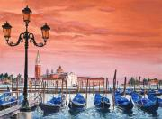 Europe Painting Acrylic Prints - Venice Gondolas Acrylic Print by David Lloyd Glover