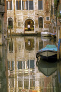 Boats In Water Prints - Venice Restaurant on a Canal  Print by Gordon Wood