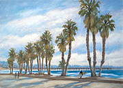 Palmtrees Framed Prints - Ventura promenade Framed Print by Tina Obrien